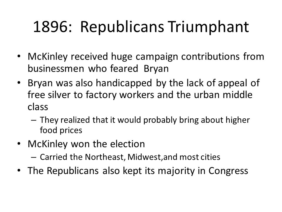 1896: Republicans Triumphant