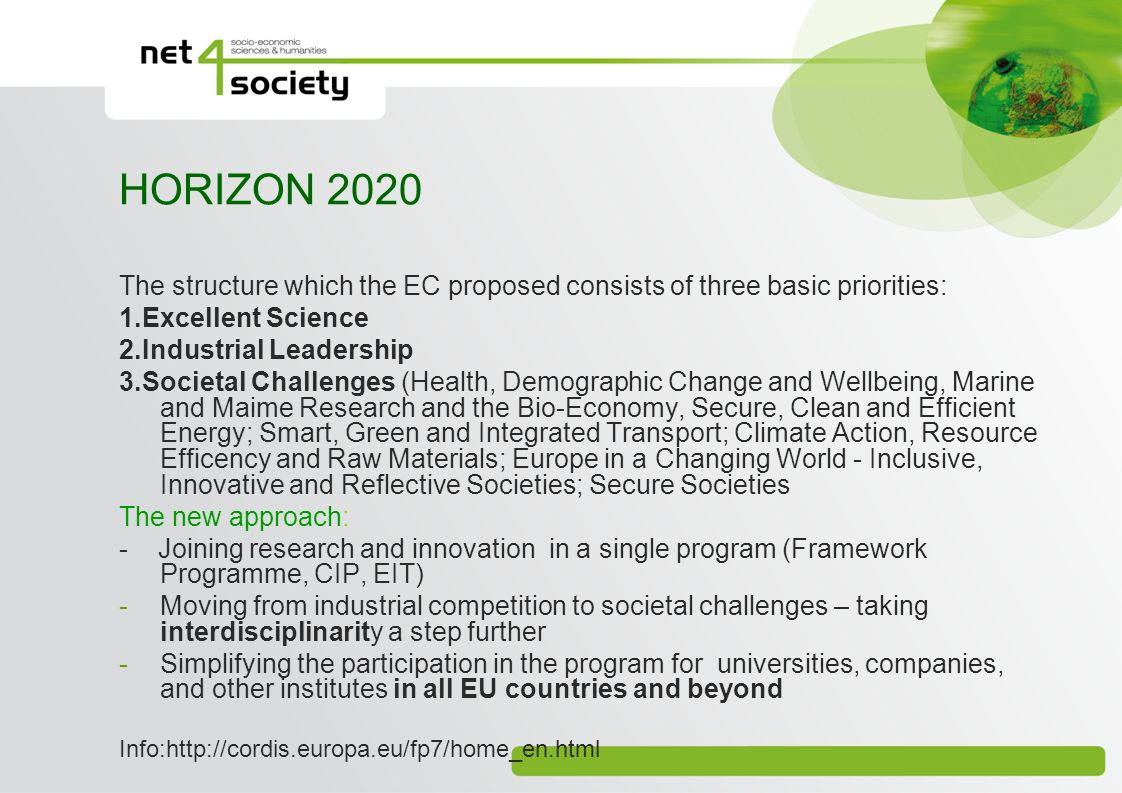 HORIZON 2020 The structure which the EC proposed consists of three basic priorities: 1.Excellent Science.