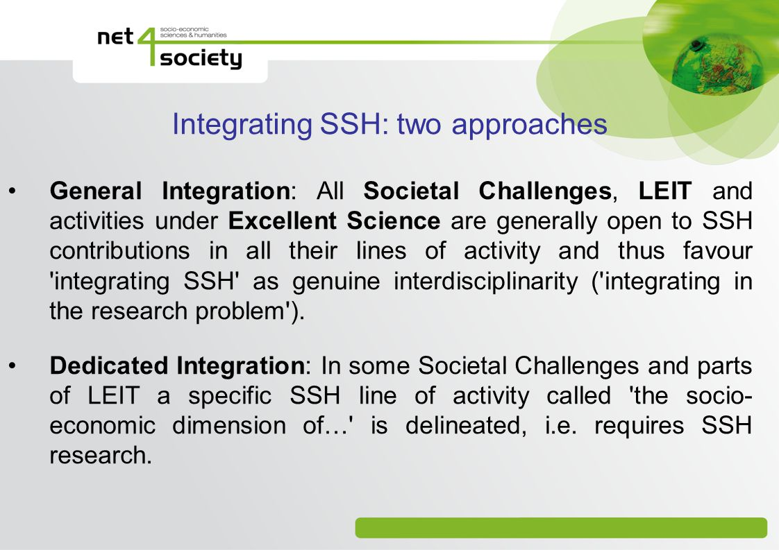 Integrating SSH: two approaches