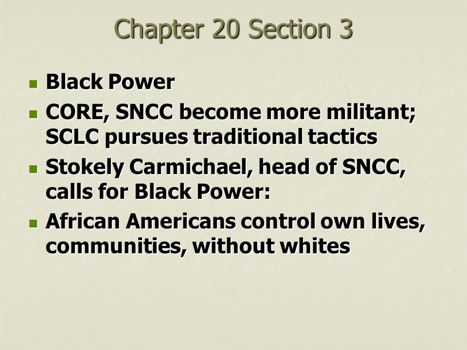 Chapter 20 Section 3 Black Power