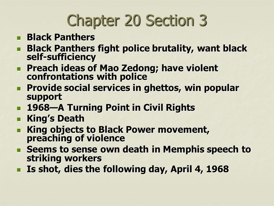 Chapter 20 Section 3 Black Panthers