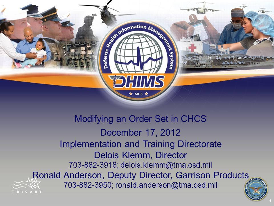 Modifying an Order Set in CHCS December 17, 2012