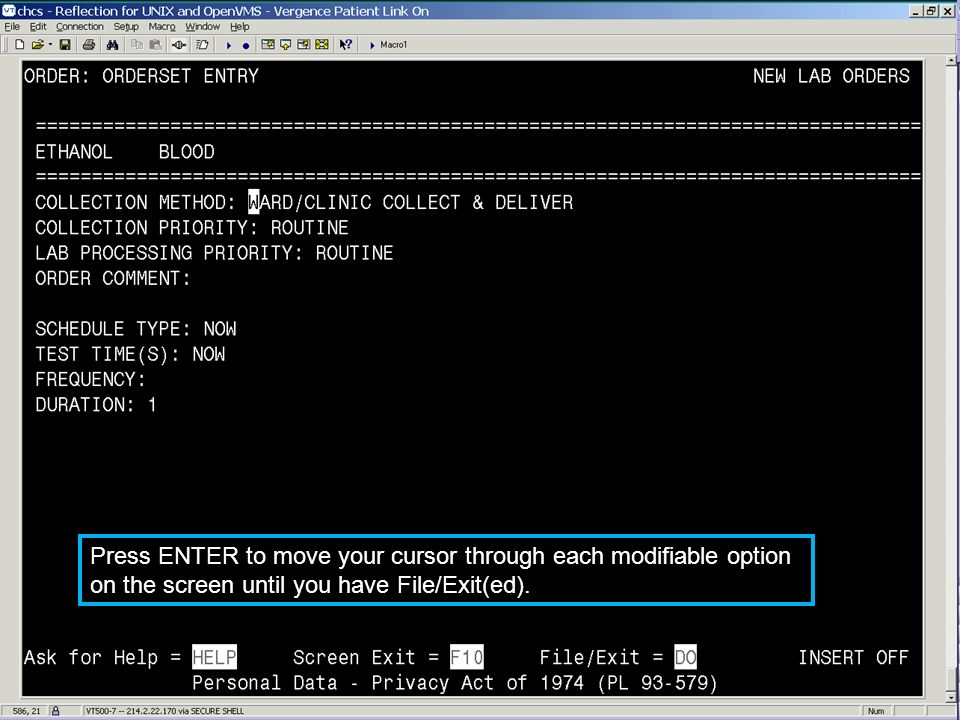 Press ENTER to move your cursor through each modifiable option on the screen until you have File/Exit(ed).