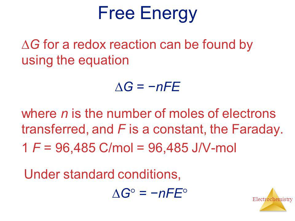 Free Energy G for a redox reaction can be found by using the equation