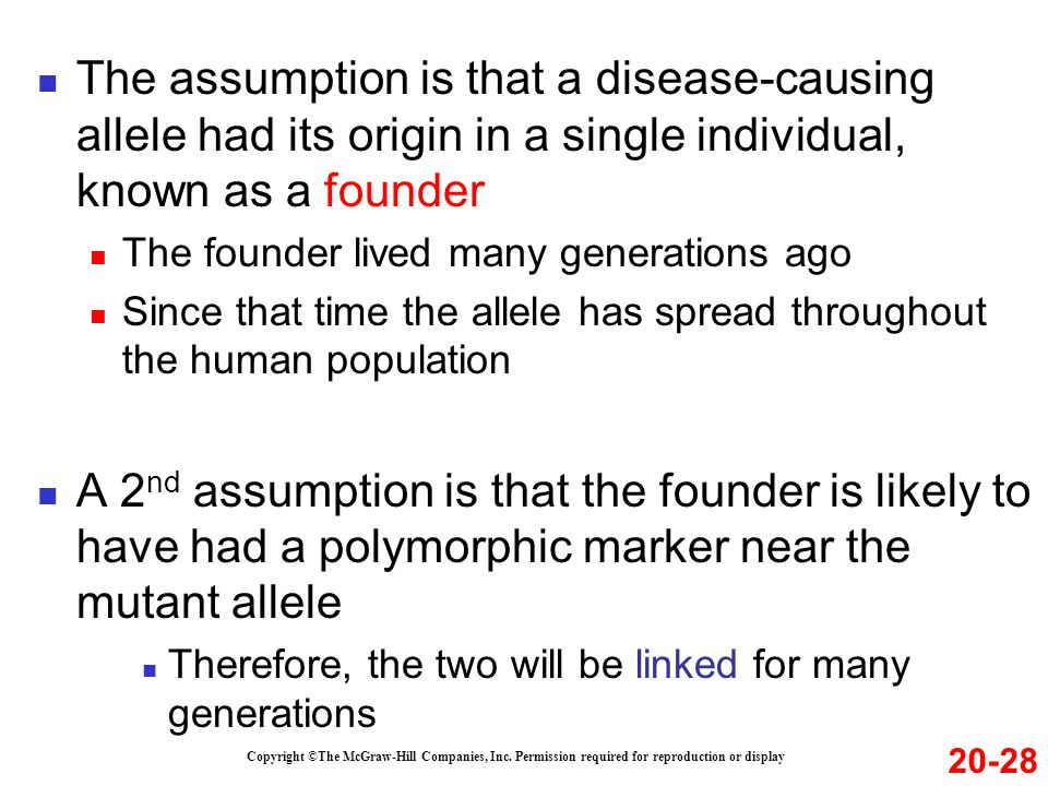 The assumption is that a disease-causing allele had its origin in a single individual, known as a founder