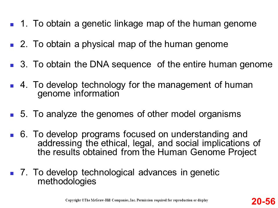 1. To obtain a genetic linkage map of the human genome
