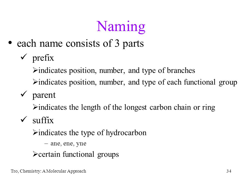 Naming each name consists of 3 parts prefix parent suffix
