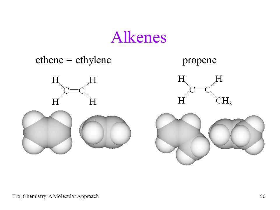 Alkenes ethene = ethylene propene Tro, Chemistry: A Molecular Approach