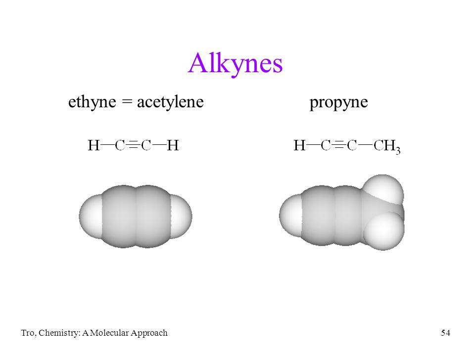 Alkynes ethyne = acetylene propyne