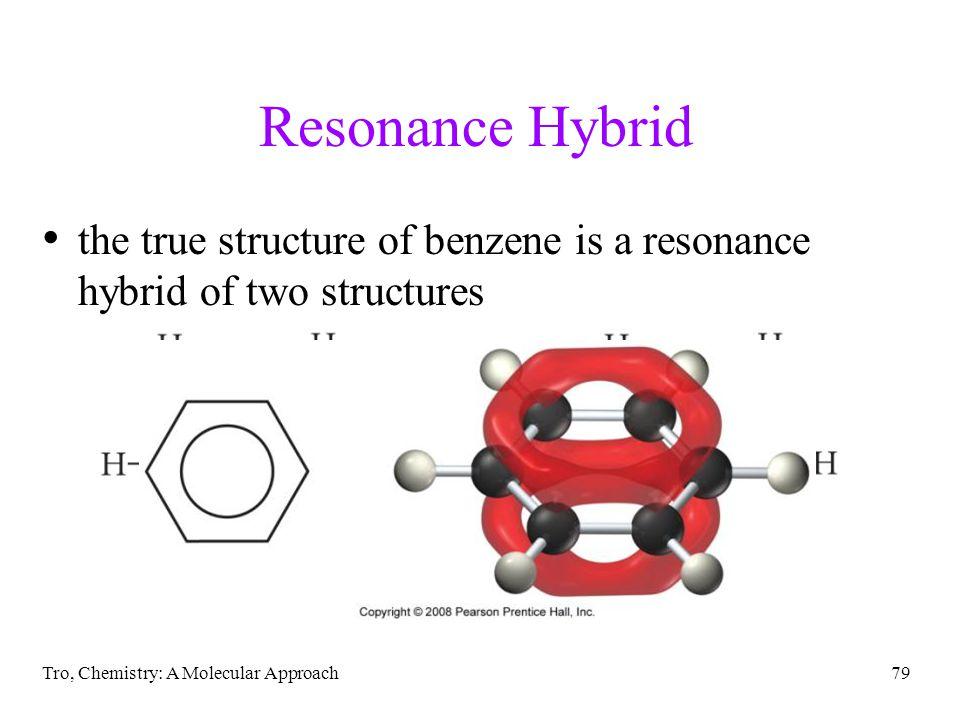 Resonance Hybrid the true structure of benzene is a resonance hybrid of two structures.