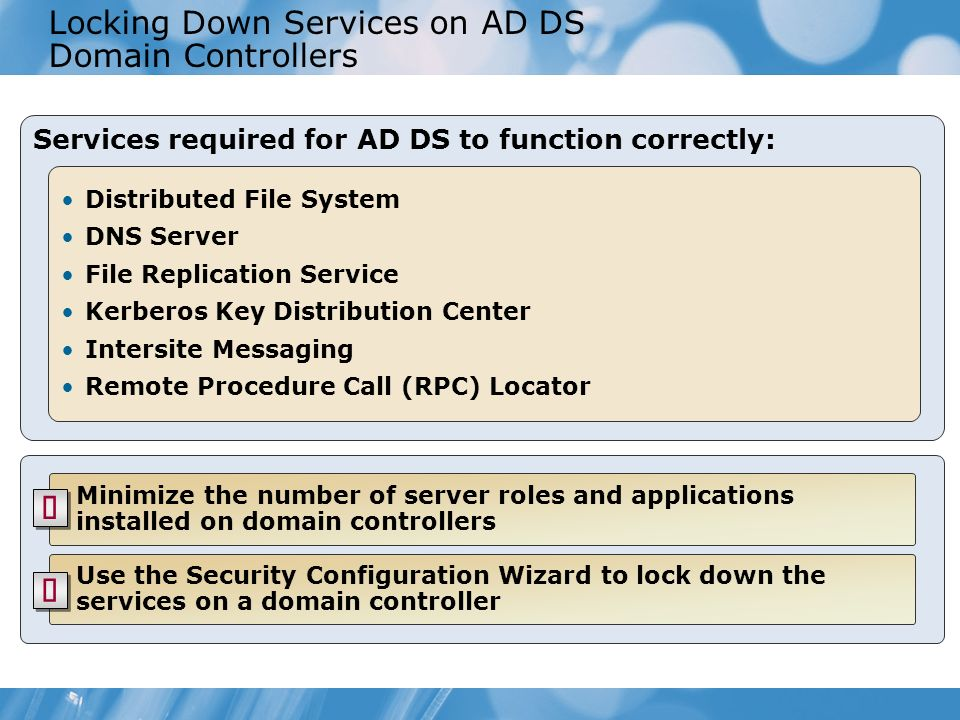 Locking Down Services on AD DS Domain Controllers