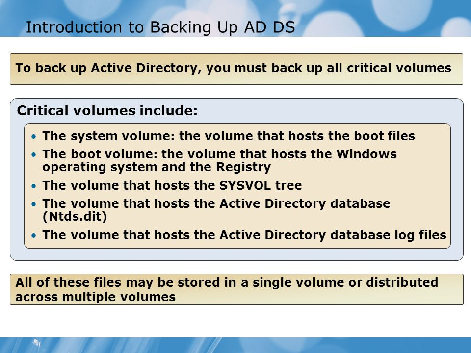 Introduction to Backing Up AD DS