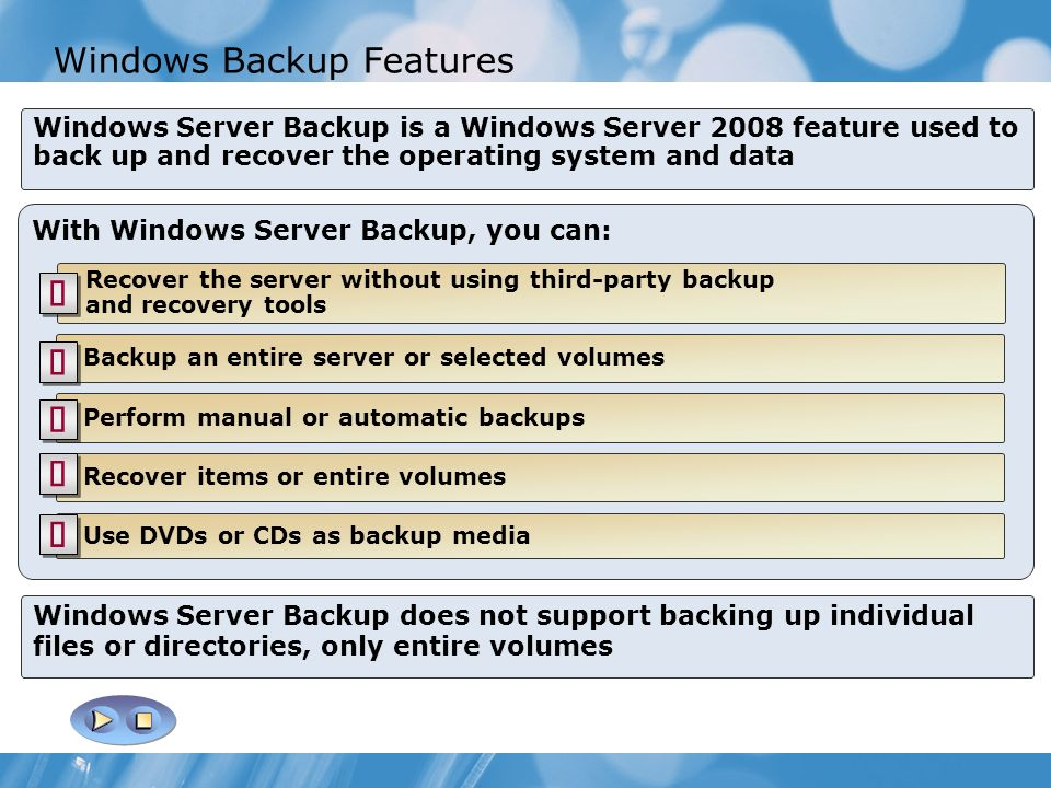 Windows Backup Features