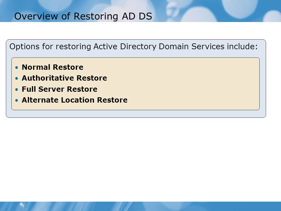 Overview of Restoring AD DS