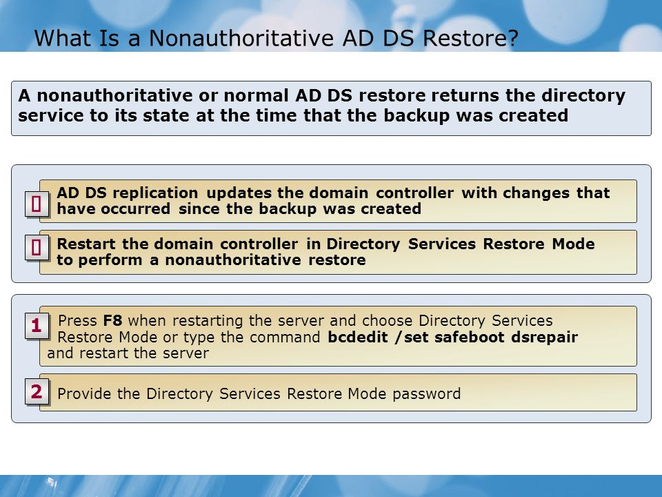 What Is a Nonauthoritative AD DS Restore