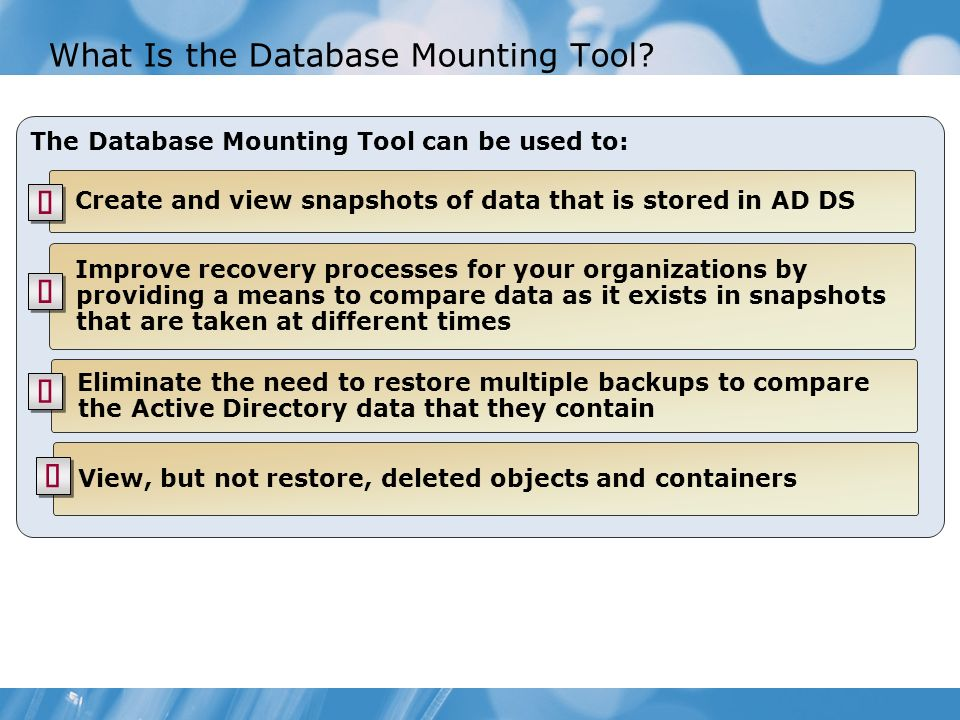 What Is the Database Mounting Tool