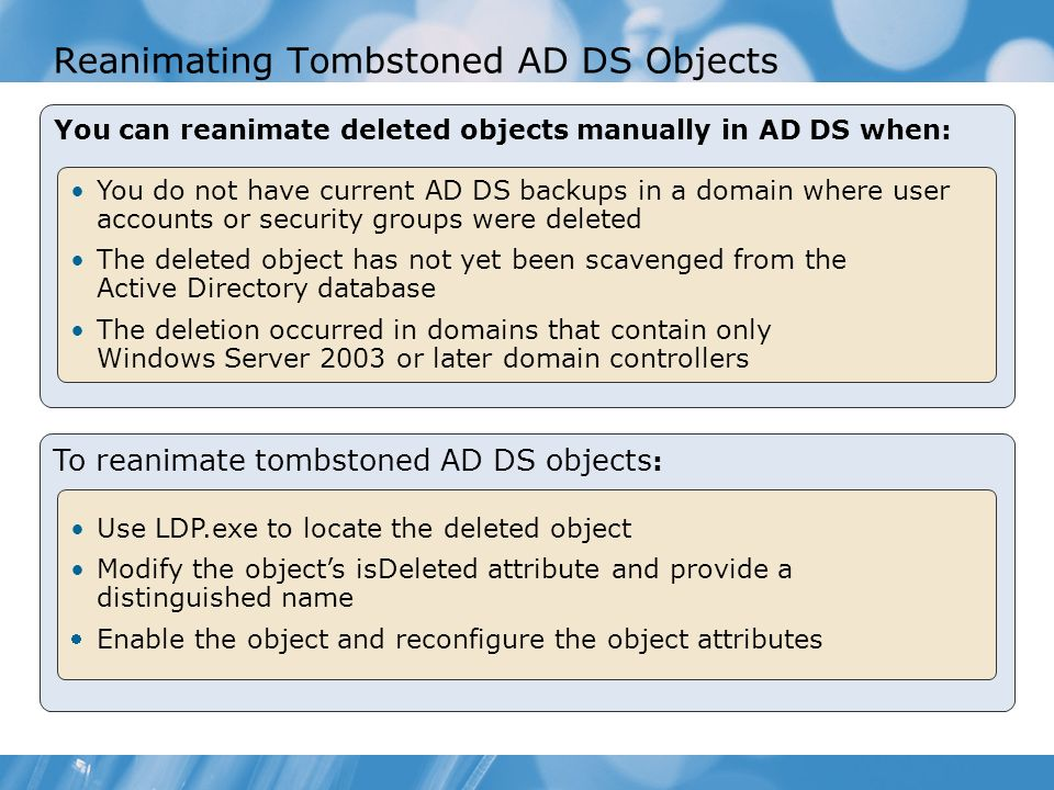 Reanimating Tombstoned AD DS Objects