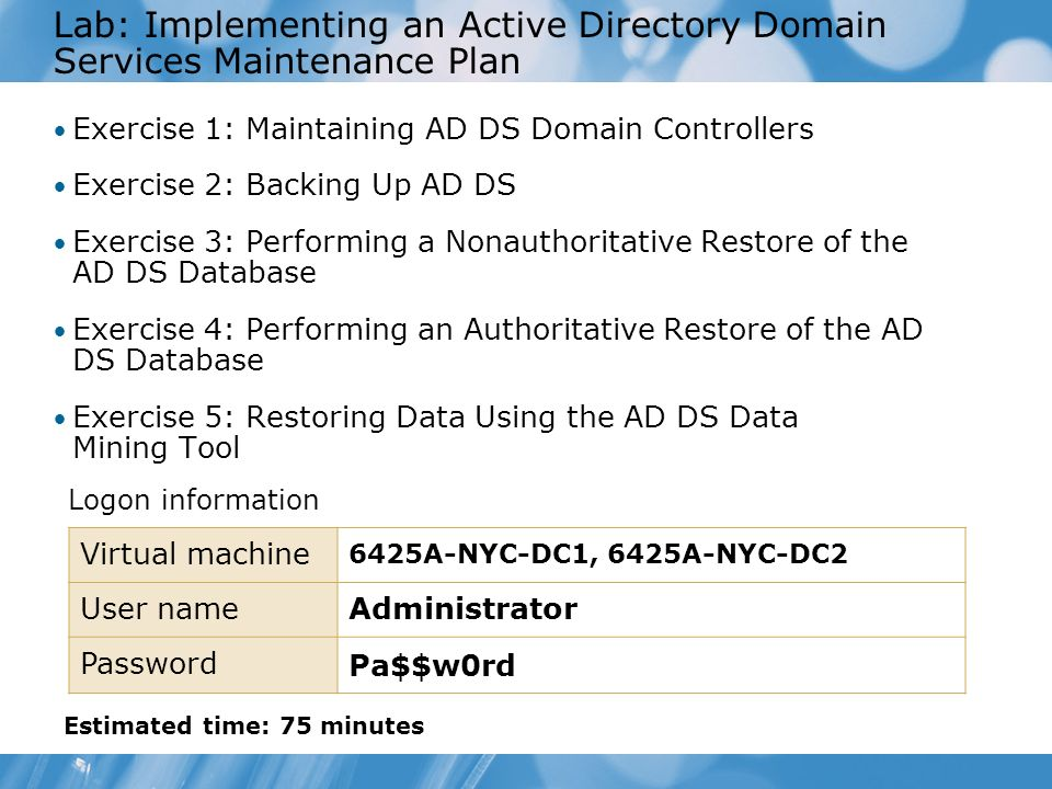 Lab: Implementing an Active Directory Domain Services Maintenance Plan