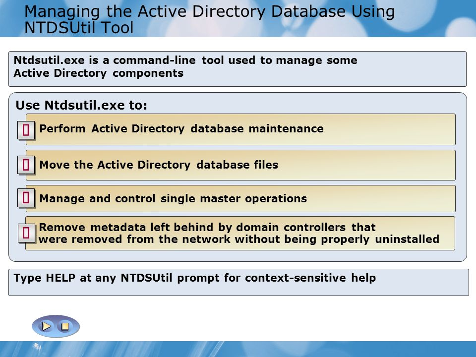 Managing the Active Directory Database Using NTDSUtil Tool
