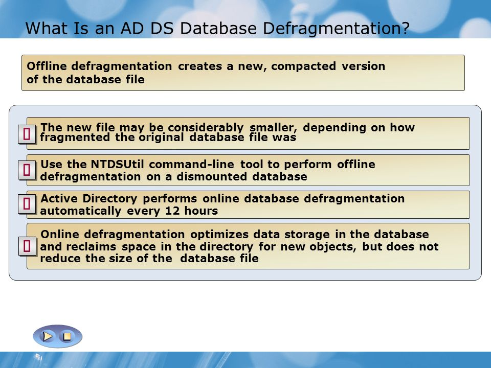 What Is an AD DS Database Defragmentation
