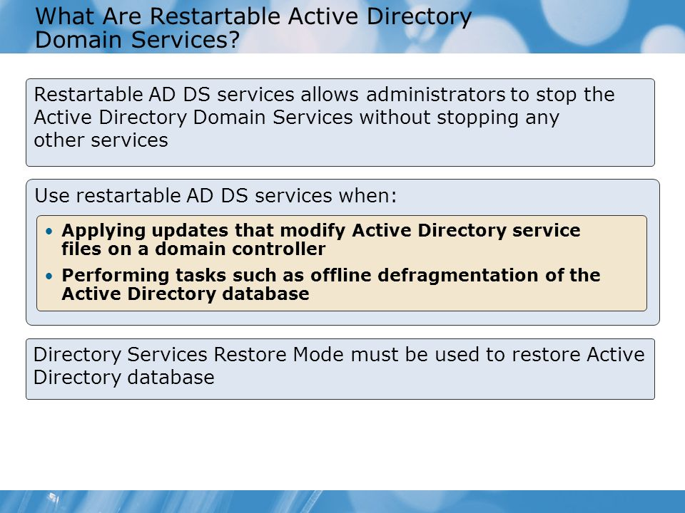 What Are Restartable Active Directory Domain Services
