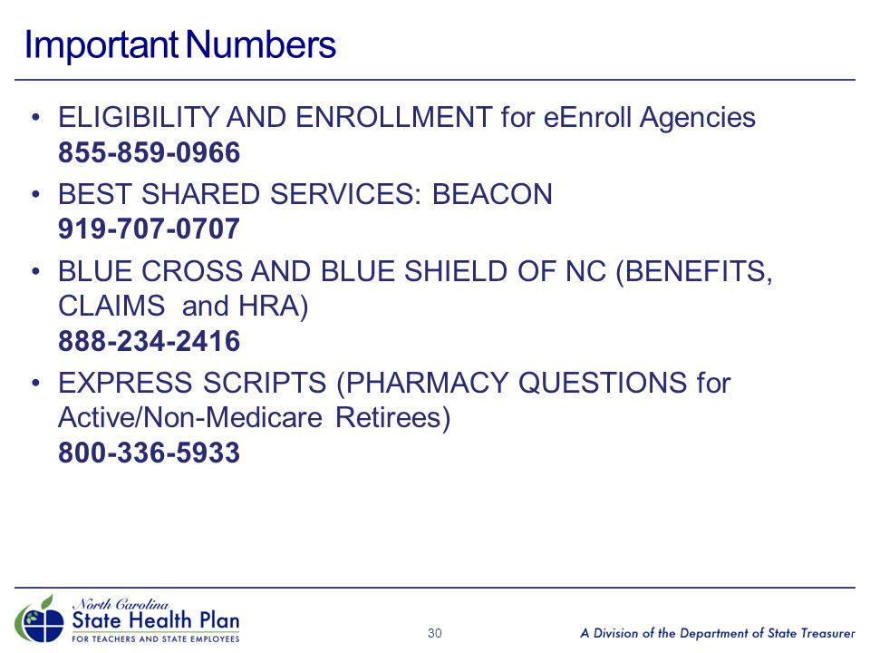 Important Numbers ELIGIBILITY AND ENROLLMENT for eEnroll Agencies 855-859-0966. BEST SHARED SERVICES: BEACON 919-707-0707.
