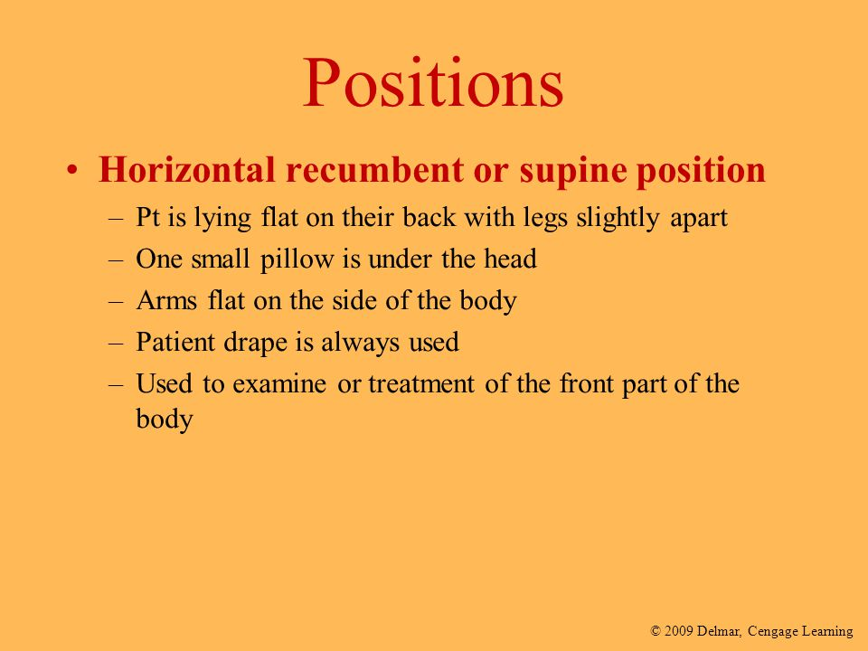 Positions Horizontal recumbent or supine position