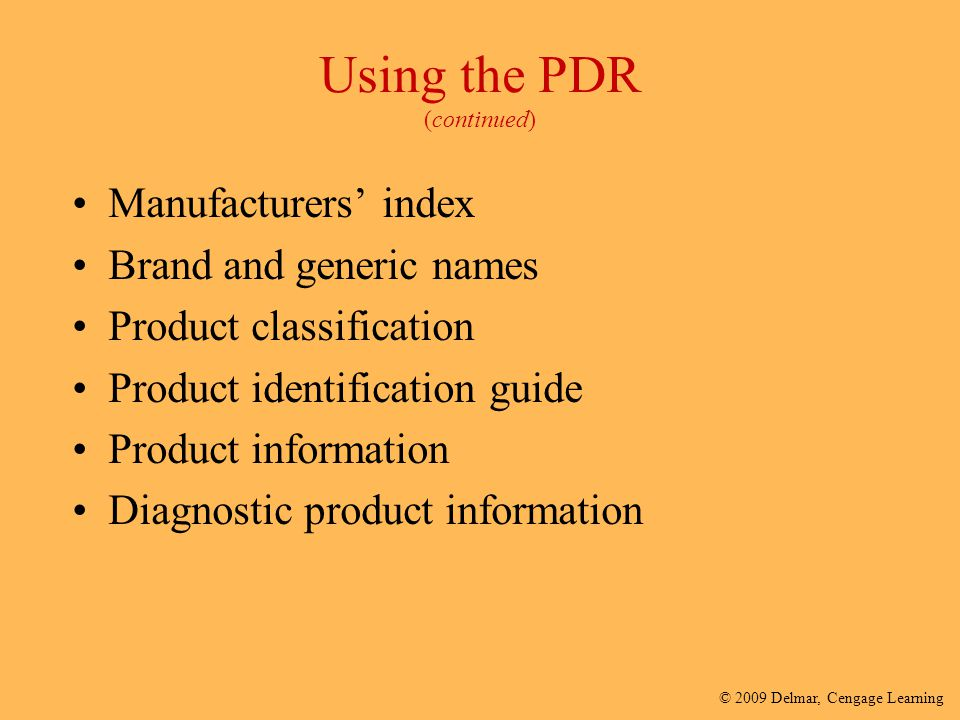 Using the PDR (continued)