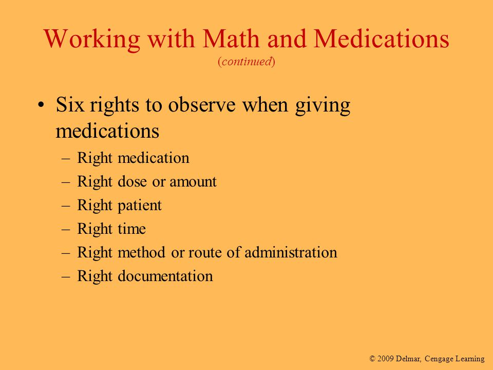 Working with Math and Medications (continued)