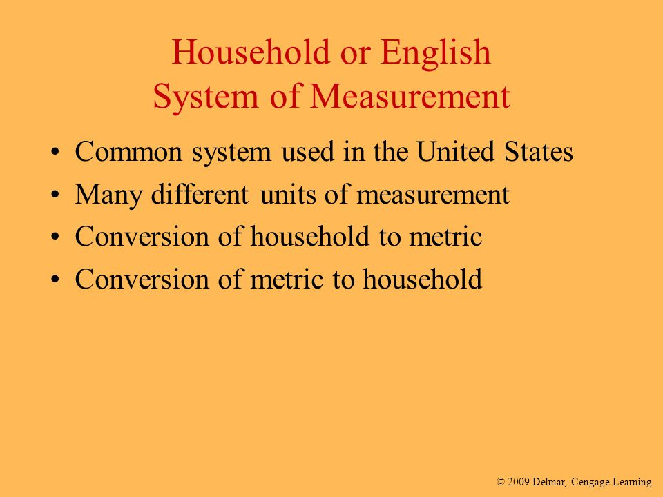 Household or English System of Measurement