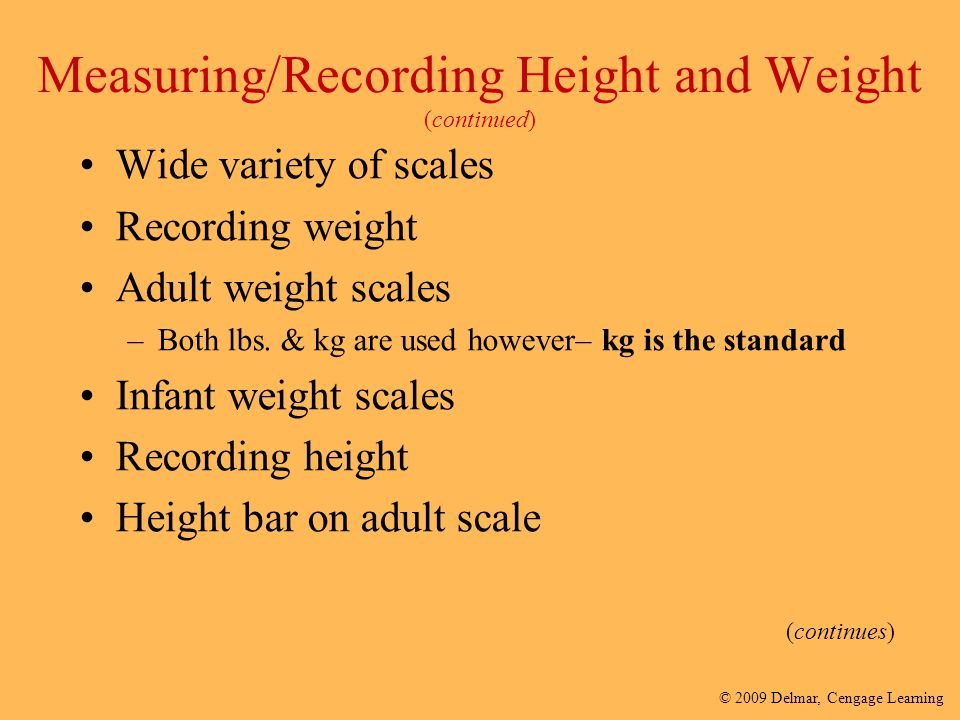 Measuring/Recording Height and Weight (continued)