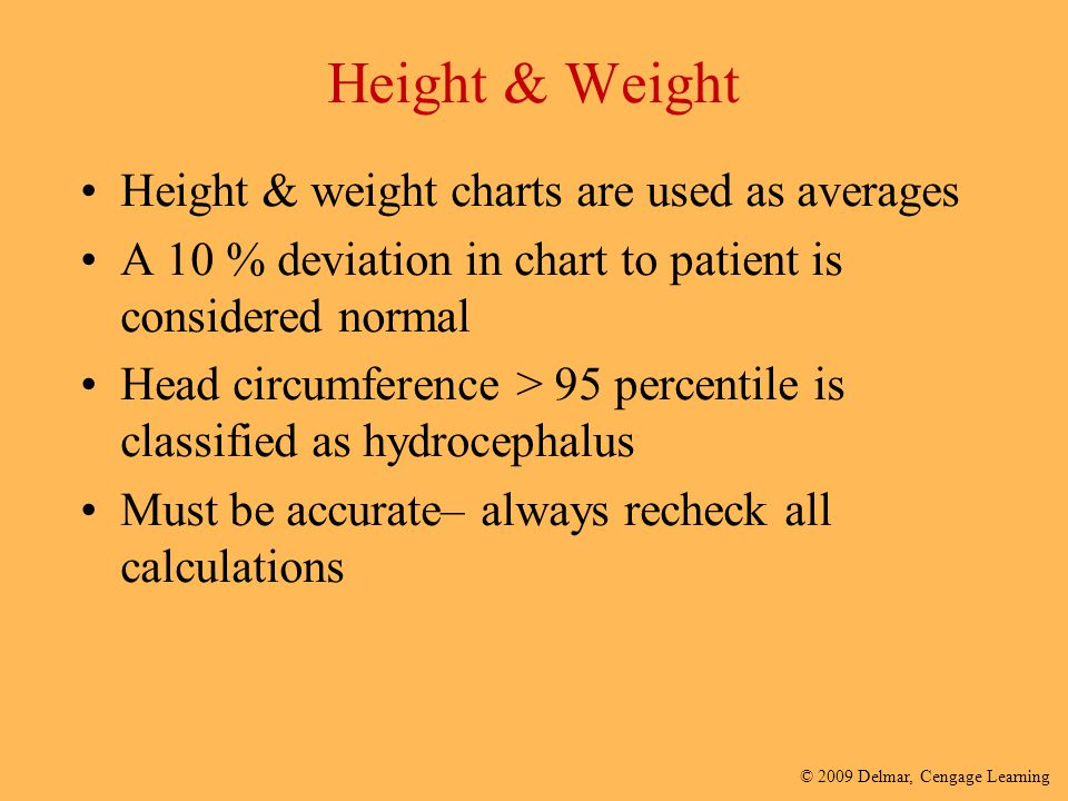 Height & Weight Height & weight charts are used as averages