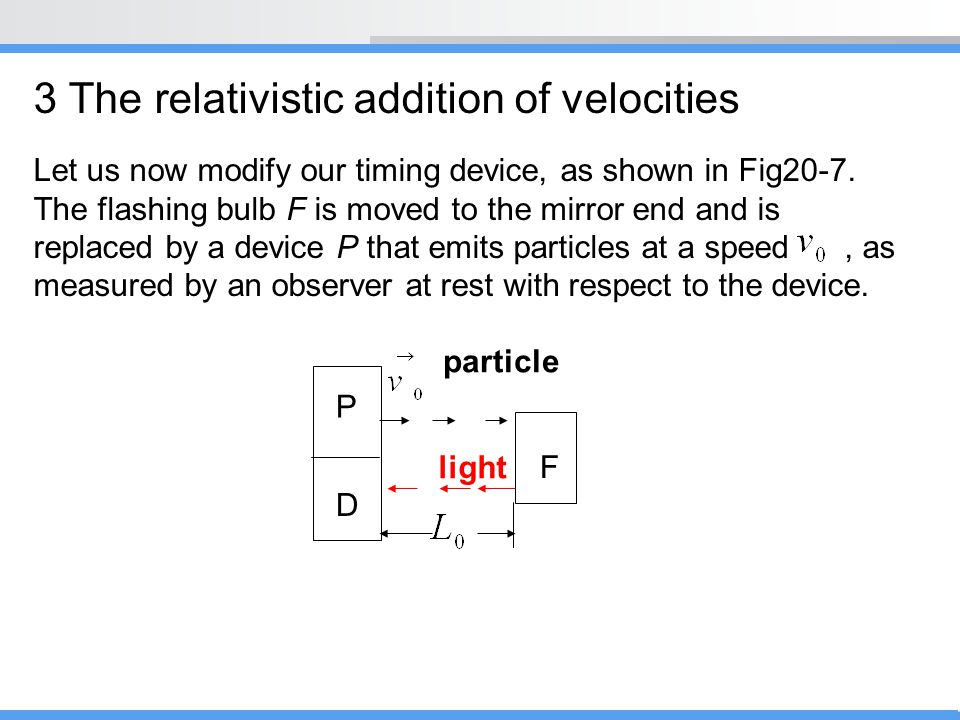 3 The relativistic addition of velocities
