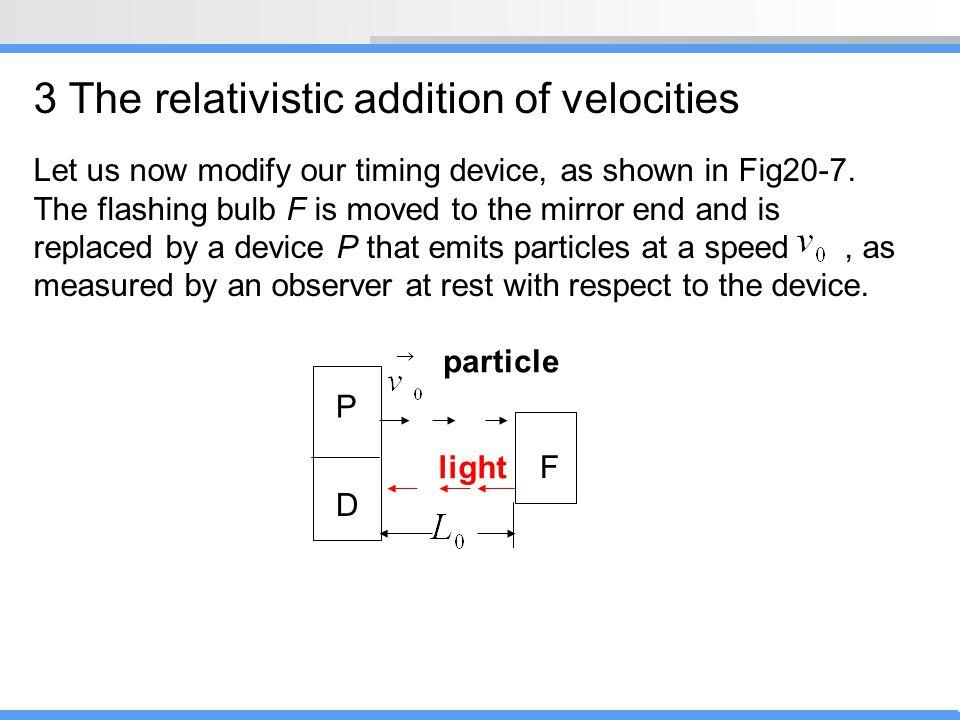 3 The relativistic addition of velocities