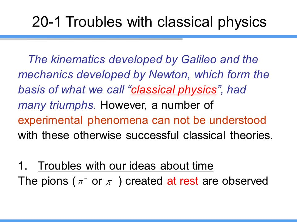 20-1 Troubles with classical physics