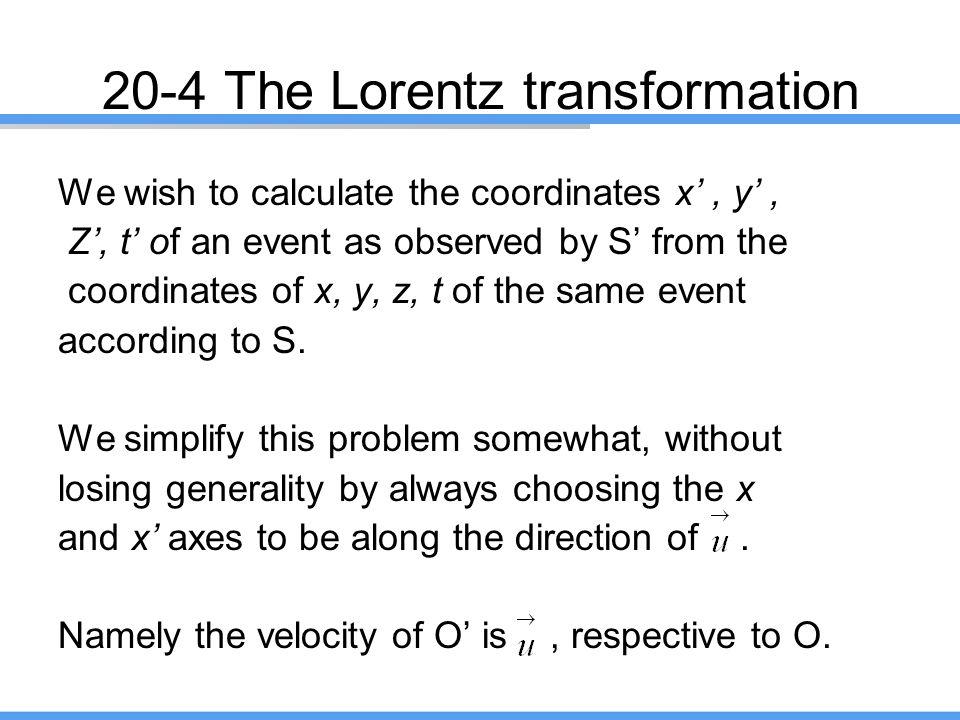20-4 The Lorentz transformation