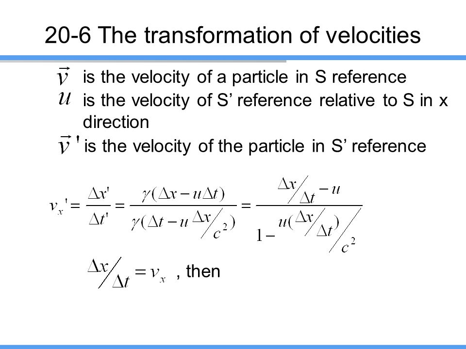 20-6 The transformation of velocities
