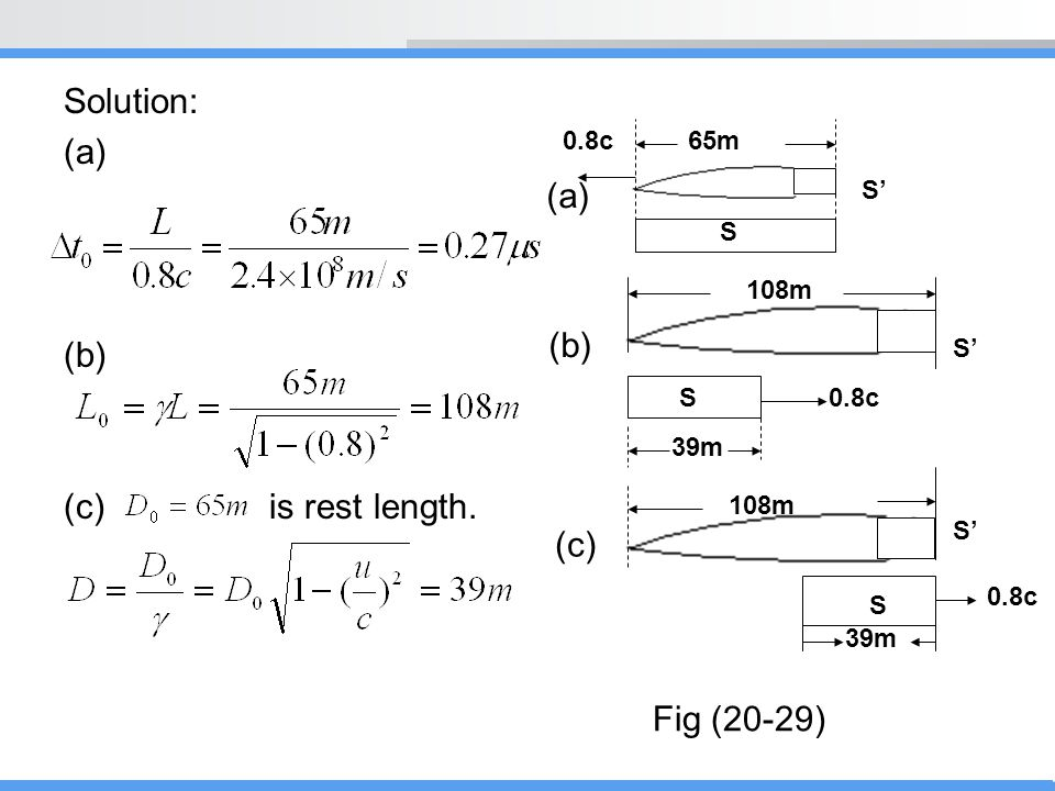 Solution: (a) (a) (b) (c) is rest length. (b) (c) Fig (20-29) 0.8c 65m
