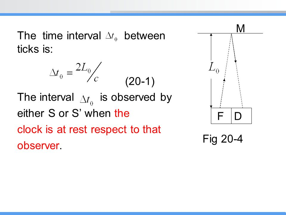 M The time interval between ticks is: (20-1) The interval is observed by. either S or S' when the.