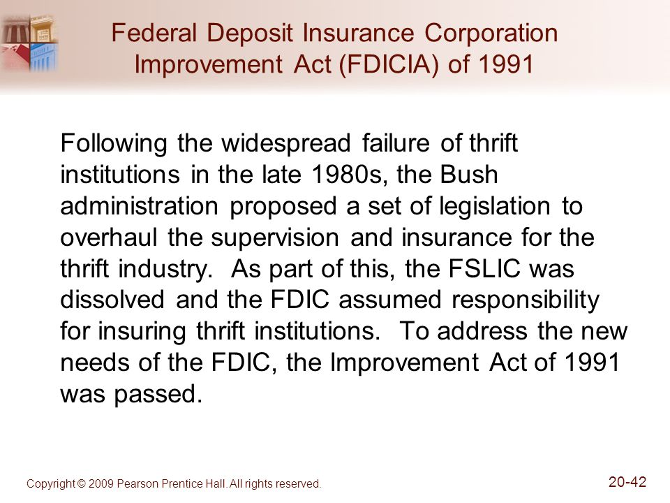 Federal Deposit Insurance Corporation Improvement Act (FDICIA) of 1991
