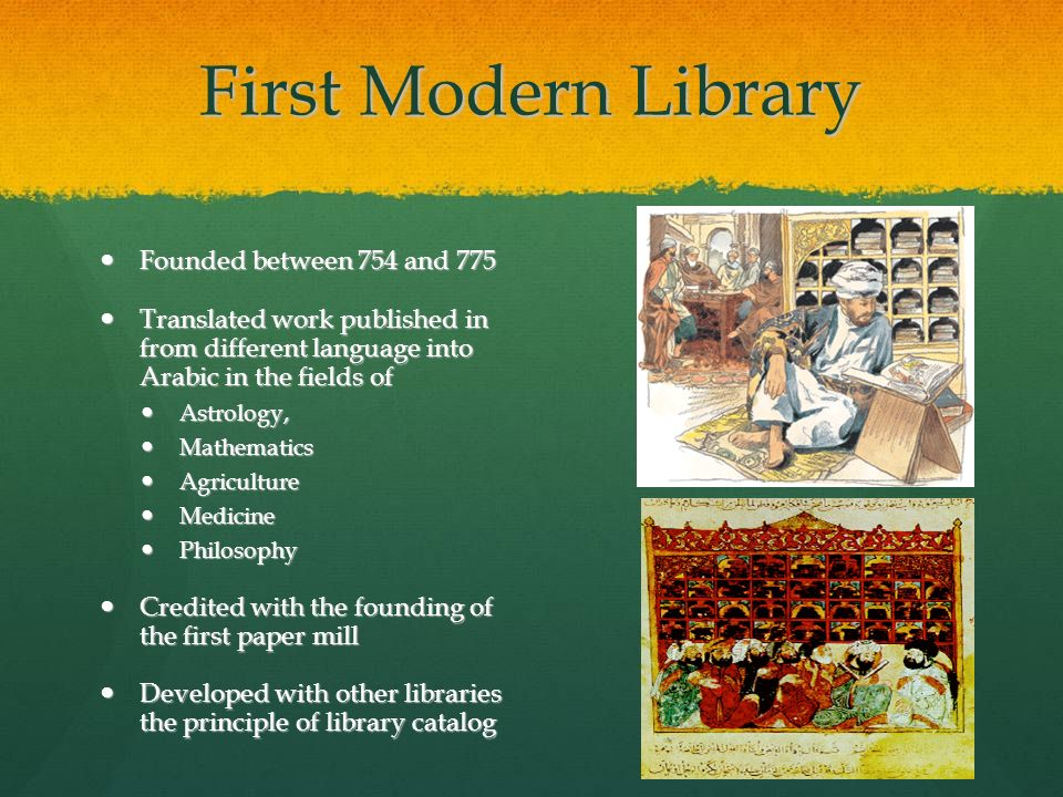 First Modern Library Founded between 754 and 775