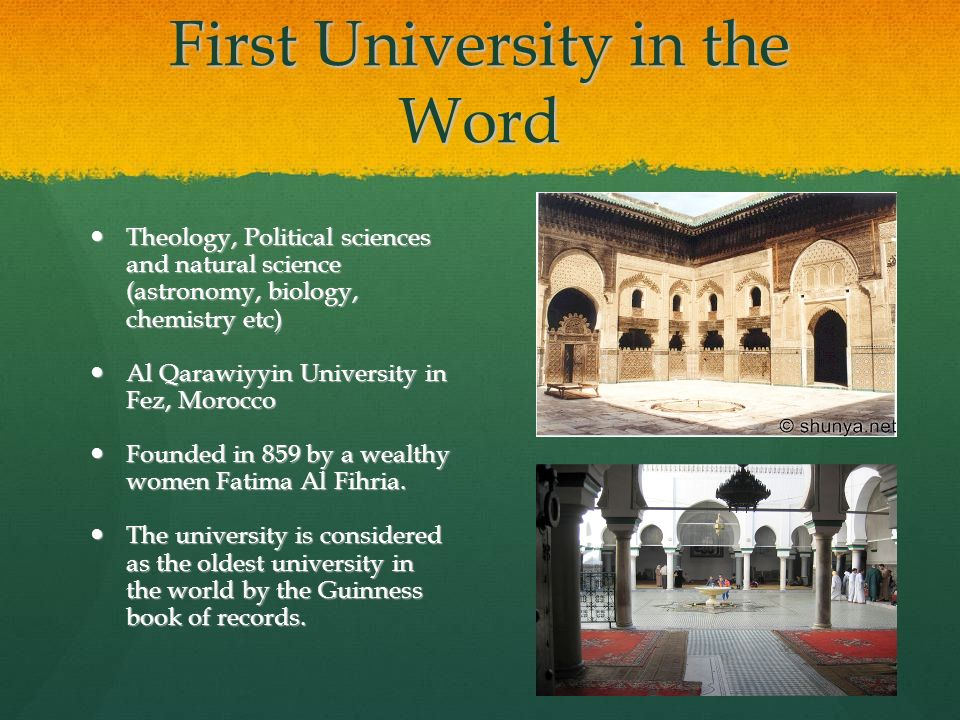 First University in the Word