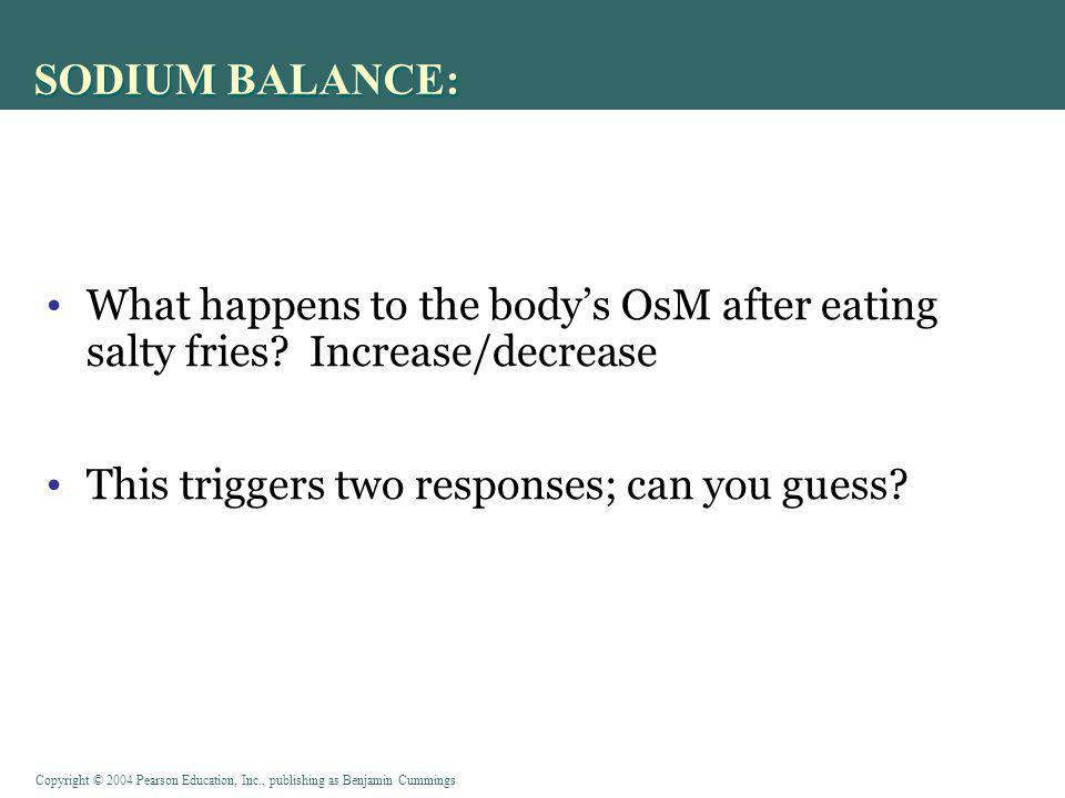 SODIUM BALANCE: What happens to the body's OsM after eating salty fries.