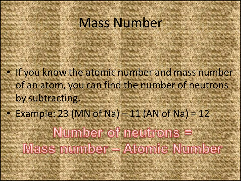 Mass number – Atomic Number