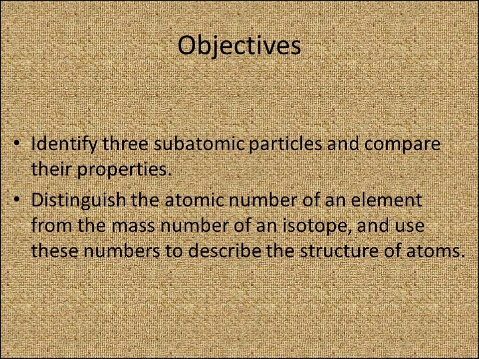 Objectives Identify three subatomic particles and compare their properties.
