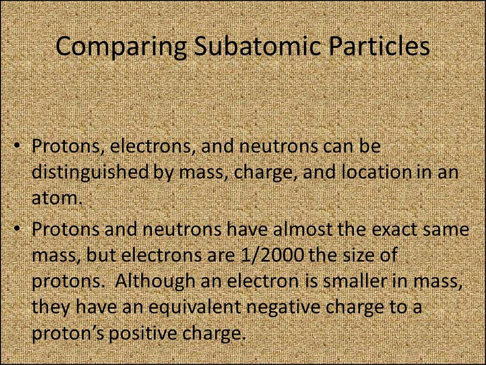Comparing Subatomic Particles