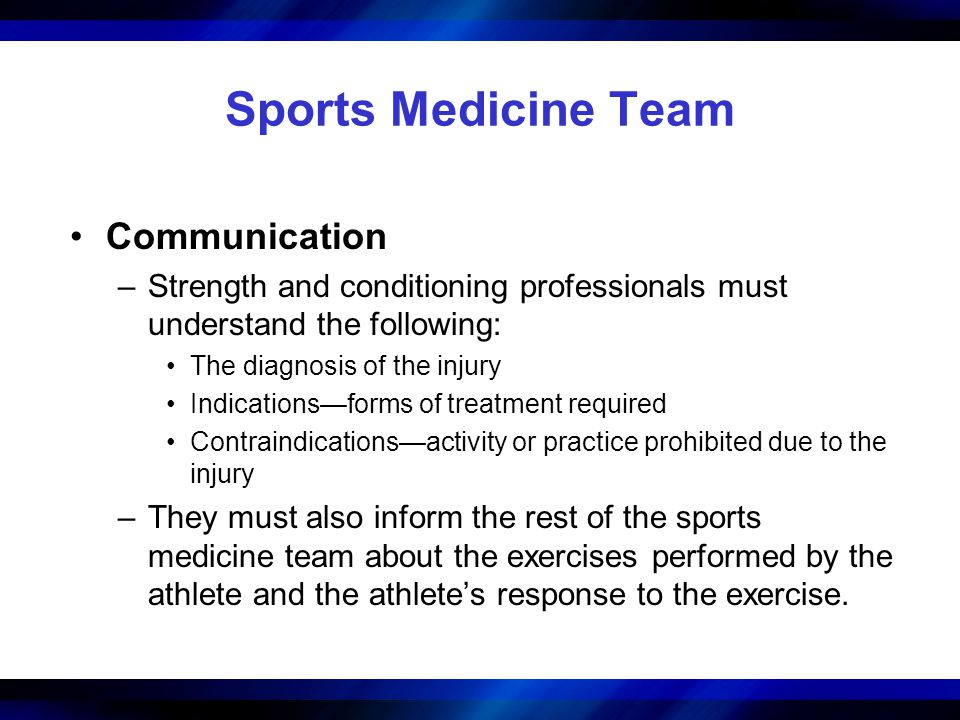 Sports Medicine Team Communication