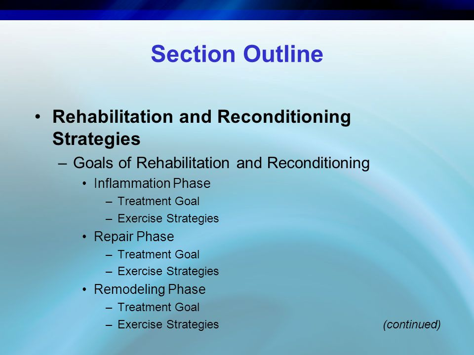 Section Outline Rehabilitation and Reconditioning Strategies