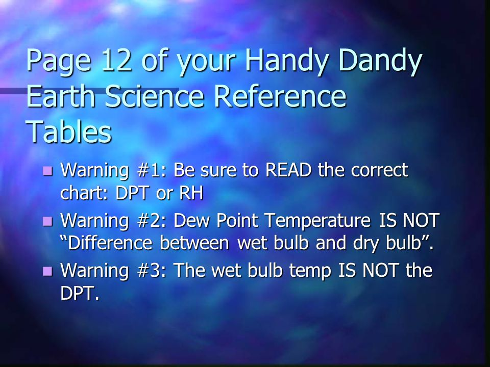 Page 12 of your Handy Dandy Earth Science Reference Tables