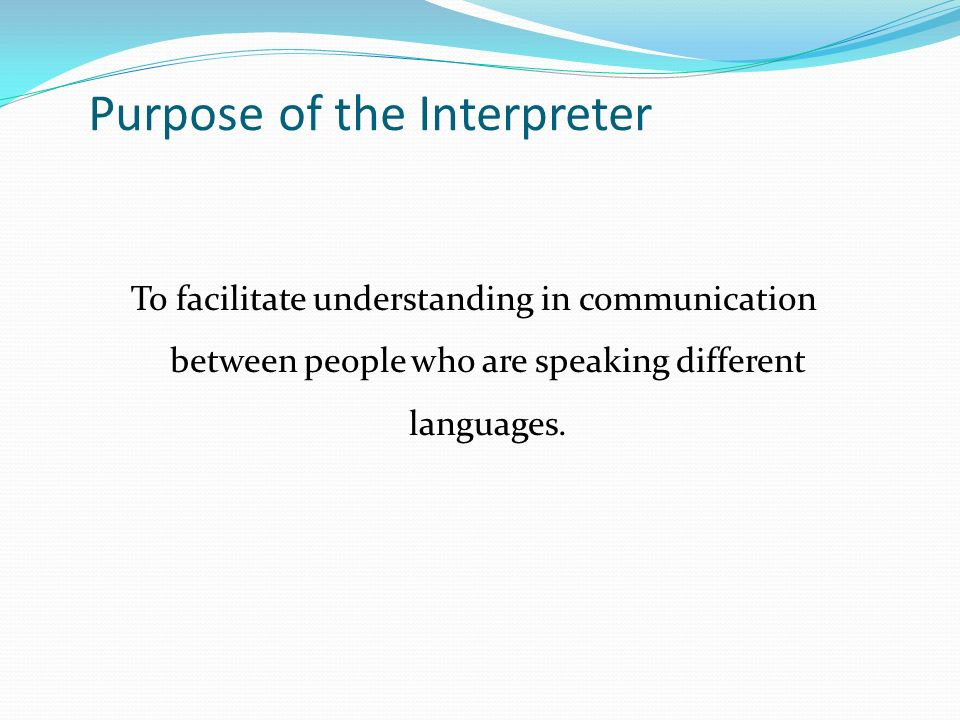 Purpose of the Interpreter